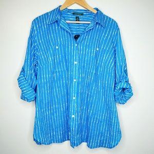 🆕 Ralph Lauren Plus Size Striped Button Up Blouse